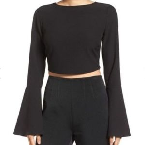 Kendall & Kylie Tops - Kendall and Kylie Black Wide Sleeve Crop Top NWT